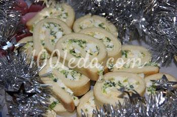 Рулет Новогодний с яйцом и зеленым луком