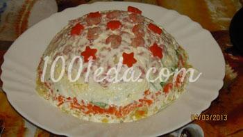 Салат слоеный с креветками и кальмаром