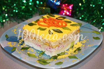 Нежный крабовый салат Праздничный с яблоком и домашнем майонезом