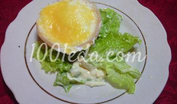 Куриные яйца в чашечках из ветчины
